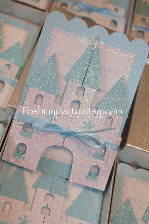 Set of 12 Frozen Castle Invitations  Princess by PoshMyParty