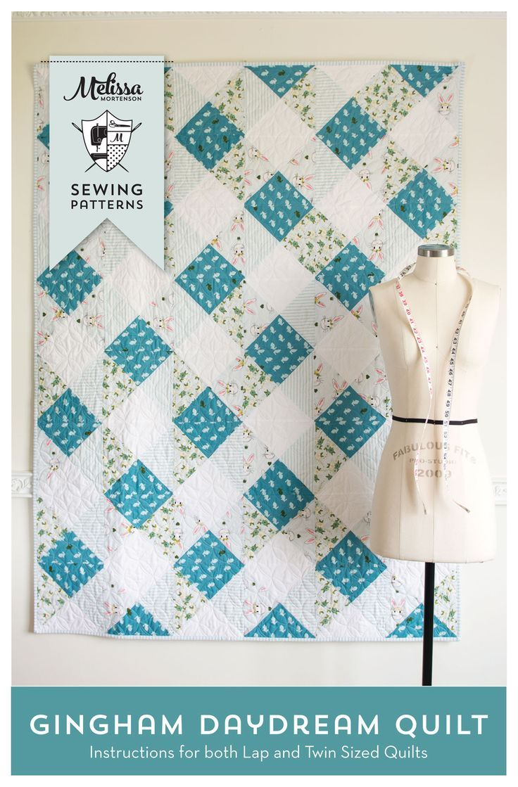 "Stitch yourself up a fantastic Gingham Look quilt using this Gingham Daydream Quilt Pattern.The pattern features a ""fast piece"" method that will have you completing the quilt in no ti..."