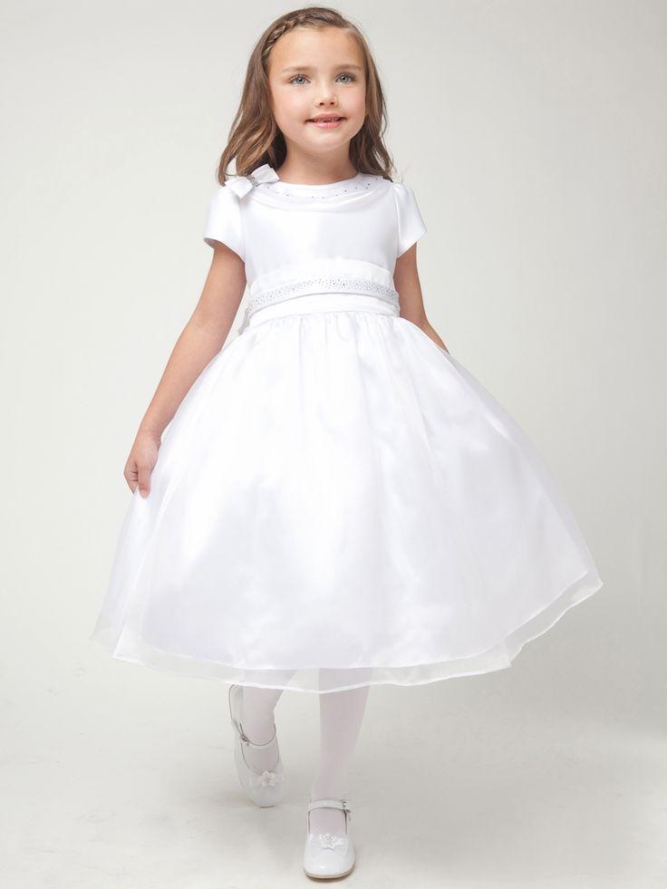 White Satin Rhinestone Top w/ Organza Skirt Dress