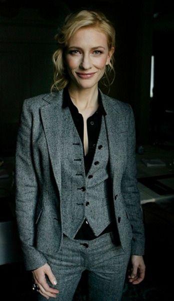 cate blanchett menswear 3 piece suit dapper
