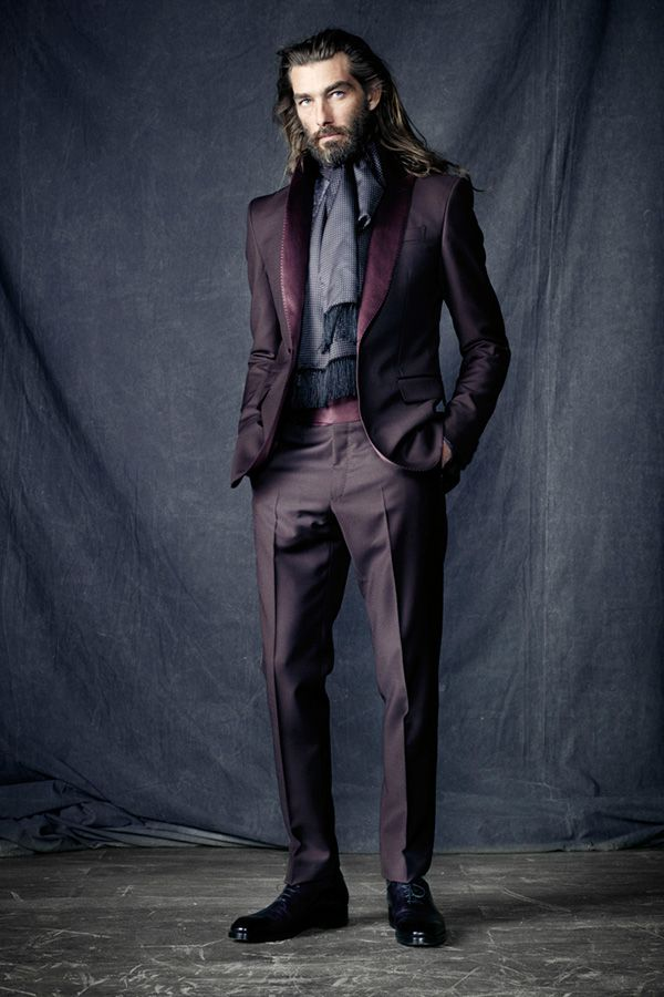 Plum suit ~ Berluti men's formalwear