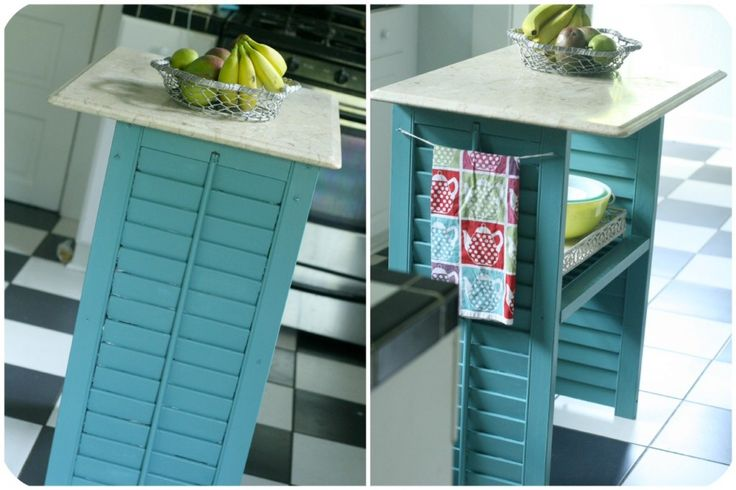 Micro kitchen island - thrifted shutters & a marble top (taken from an end table - also a thrift store find). I'd like some wheels for easy mobility - the kind that lock.  ;-) ~ tutorial - soyouthinkyourecrafty