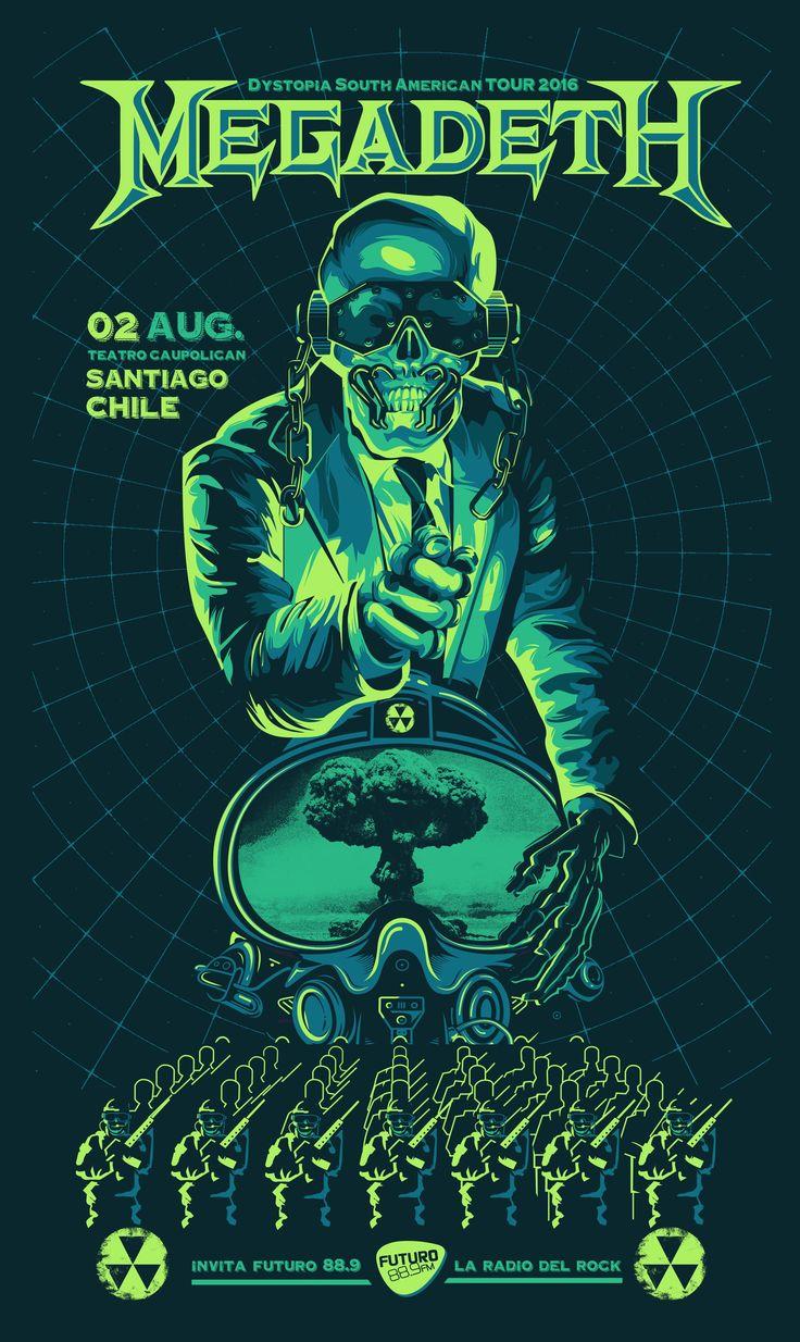 Megadeth Tour GIG Poster Jofre Conjota on Behance. https://www.behance.net/gallery/38393933/Megadeth-Dystopia-Tour-Poster #megadeth, #poster #gig