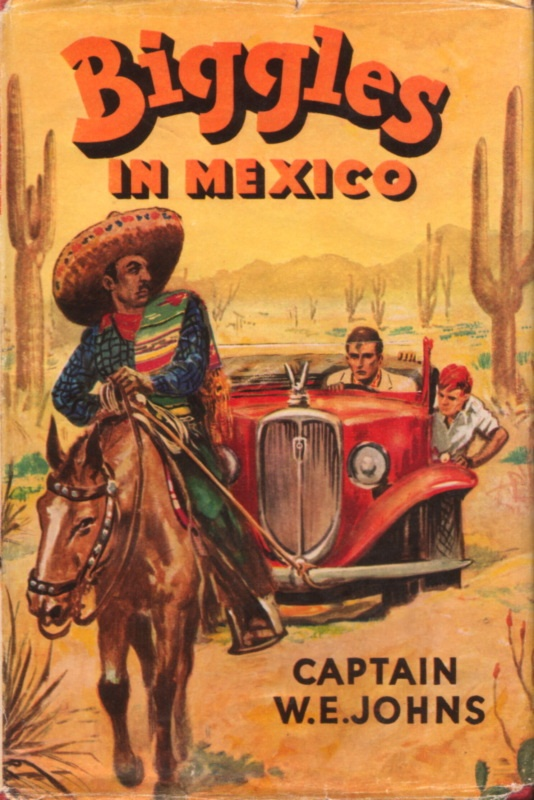 In Biggles in Mexico, Biggles and Ginger travel to Mexico on the trail of stolen diamonds.  Unique in that airplanes only figure into one bit of the story.
