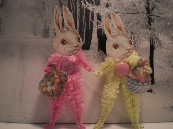 Easter Bunny Rabbit Chenille Ornaments from Etsy  http://www.etsy.com/listing/90562787/pastel-easter-bunny-rabbit-chenille?ref=sr_gallery_19&sref=&ga_search_submit=&ga_search_query=Easter&ga_view_type=gallery&ga_ship_to=US&ga_page=4&ga_search_type=handmade&ga_facet=handmade