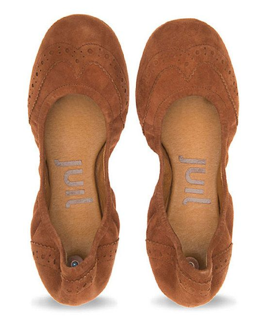 Luggage Tan Wing Tip Ballet Flats by Juill