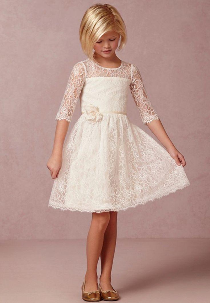wedding flower girl   ... Flower-Girl-Dresses-with-Sleeves-Knee-Length-Flower-Girl-Dress-for