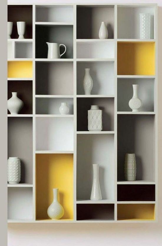 Love the painted shelf compartments!