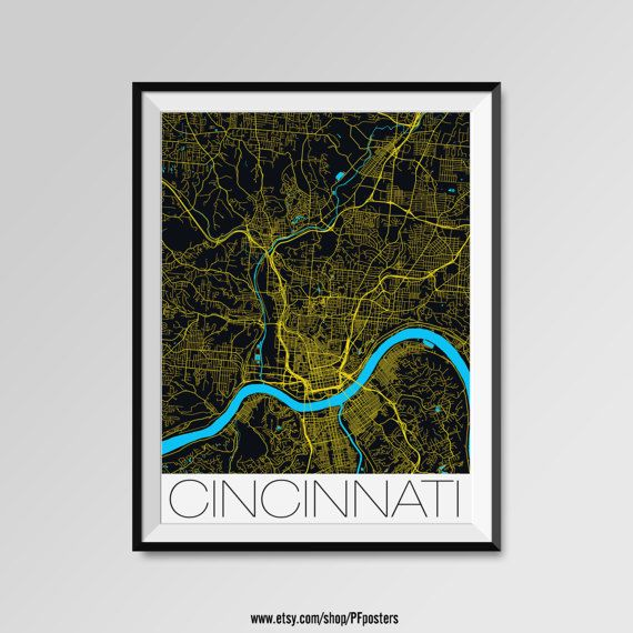 Cincinnati map, Cincinnati print, Cincinnati poster, Cincinnati map art, Cincinnati gift  More styles - Cincinnati - maps on the link below https://www.etsy.com/shop/PFposters?search_query=Cincinnati