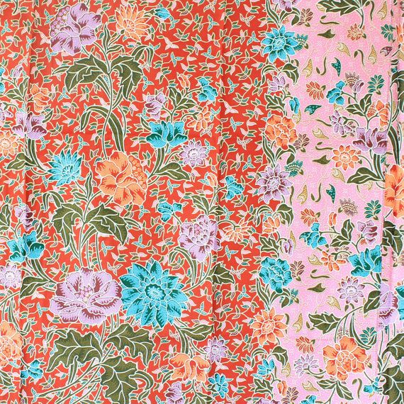 red and pink flowers  print vintage flowers cotton by 18dec, $17.00