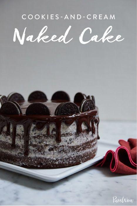Cookies-and-Cream Naked Cake via @PureWow