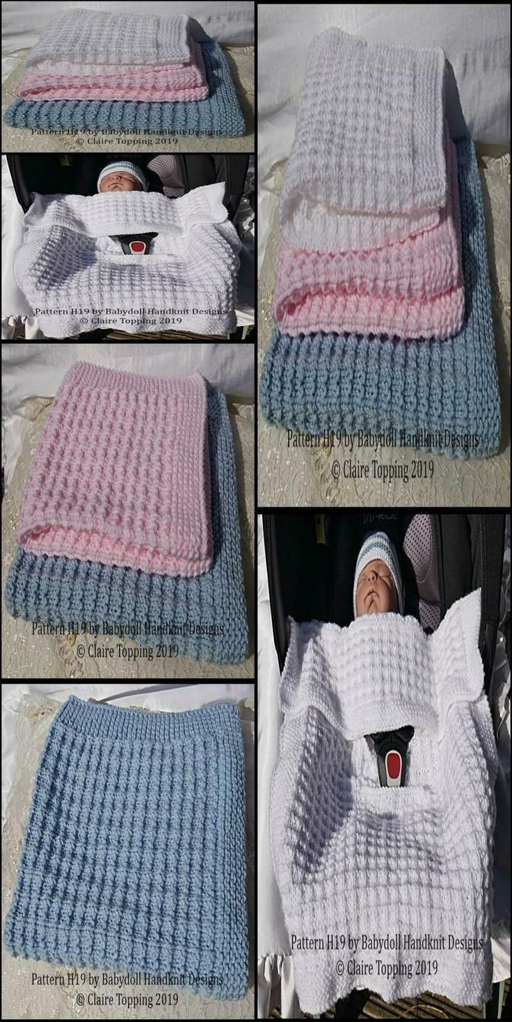 Simple waffle style blanket in two sizes and car seat ...