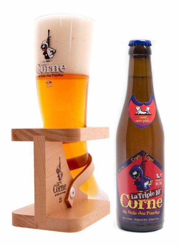 Cerveja La Corne du Bois des Pendus Triple, estilo Belgian Tripel, produzida por Brasserie d'Ebly, Bélgica. 10% ABV de álcool.