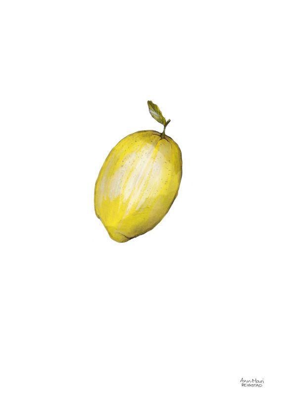 Lemon wall art prints lemon print food by annmarireigstad on Etsy