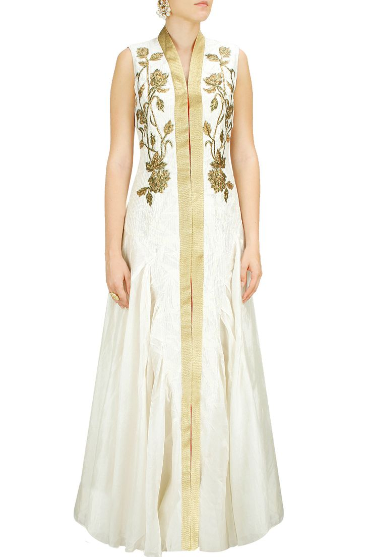Off-white embroidered front-open gown with red churidaar BY SAMANT CHAUHAN. shop now at http://www.perniaspopupshop.com/whats-new #designer #fashion #style #beautiful #newcollection #updates #perniaspopupshop #happyshopping