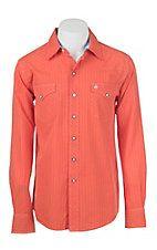 Garth Brooks Sevens by Cinch Men's Orange Pin Striped Long Sleeve Western Snap Shirt