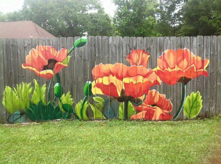 Flowers that never die in the backyard. Mural by Lori Anselmo Gomez in Pearl River, LA