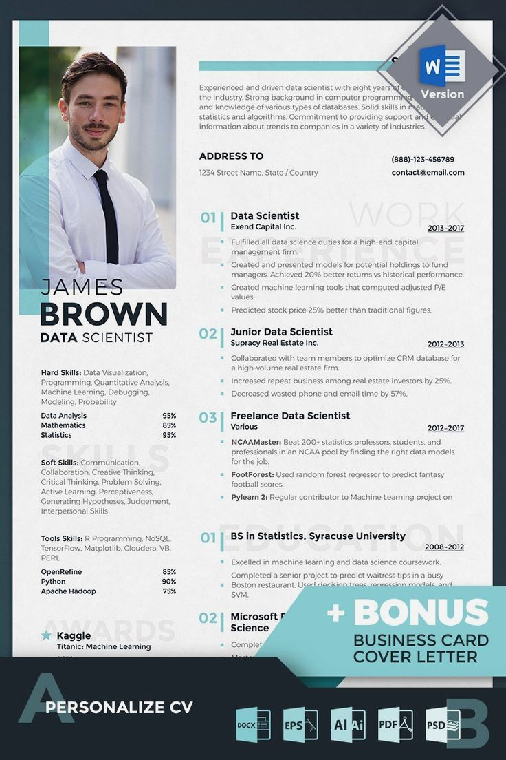 Data scientist resume template gives an array of