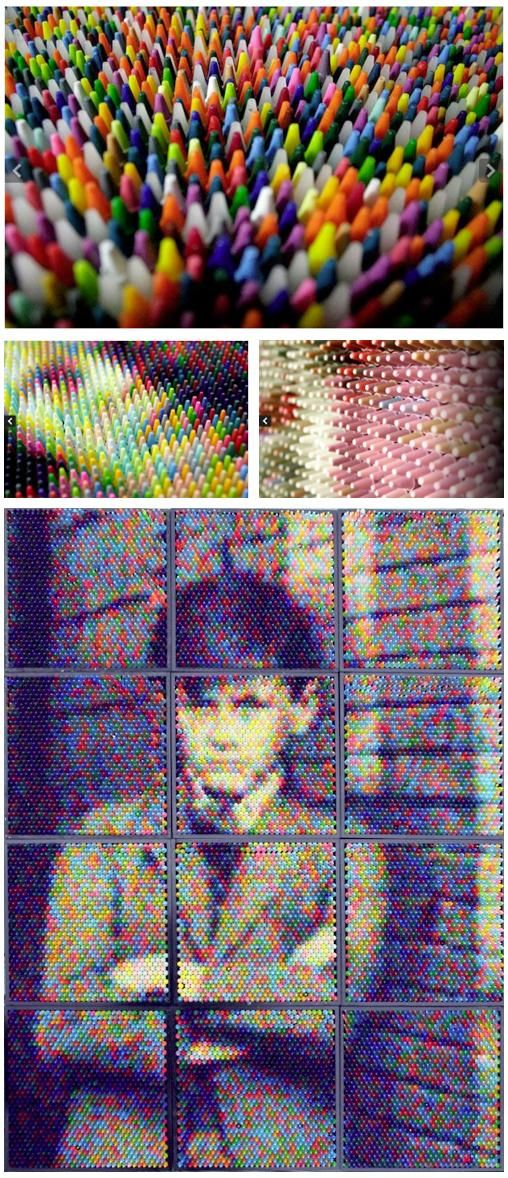 Christian Faur's crayon art looks more like a rasturbated photograph than a portrait made of colored crayons. After scanning a photo, Faur breaks the picture down into color blocks. Then he closely aligns thousands of colored crayons to recreate the image. Truly amazing!