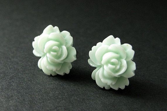 Lotus Flower Earrings in Pale Aqua and Silver Earring Studs. Flower Jewelry. Handmade Jewelry. by StumblingOnSainthood from Stumbling On Sainthood. Find it now at http://ift.tt/24f0OkR!