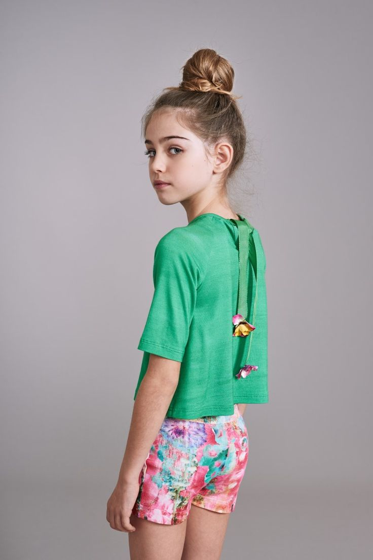 Ribbon tie decorated tops from Shan and Toad's new capsule kids fashion collection for spring 2016