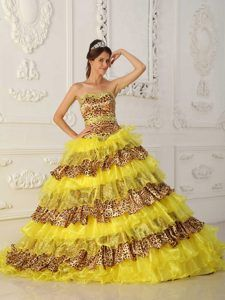 Attractive Yellow A-line Leopard Long Prom Graduation Dresses with Ruffles