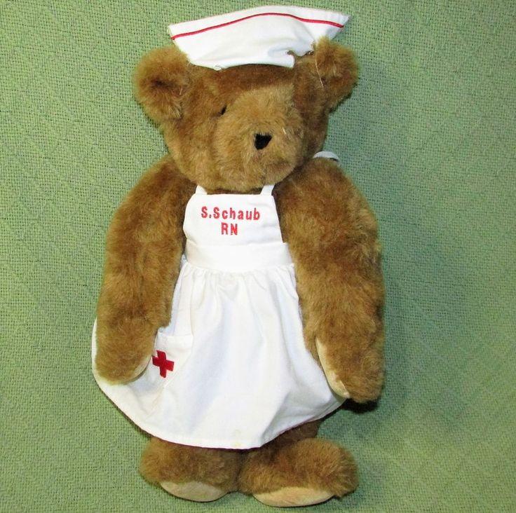 "Vermont Teddy Bear NURSE 15"" Jointed Uniform & Name Jointed Plush Stuffed Lovie #VermontTeddyBearCompany #Any"