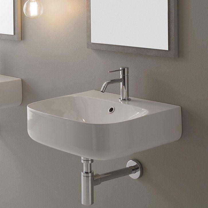Main Floor Bathroom Moon Ceramic 20 Wall Mount Bathroom Sink With Overflow Wall Mounted Bathroom Sinks Wall Mounted Sink Bathroom Sink