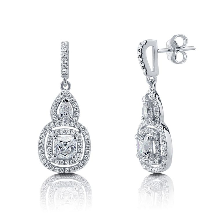 Sterling Silver Cushion Cut Cubic Zirconia Halo Dangle Drop Earrings