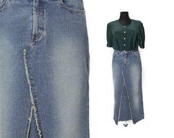 Falda vaquera larga falda de Jean larga falda por TheVelvetPrincess