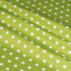Tissus a Pois Vert Lime / Blanc 7mm