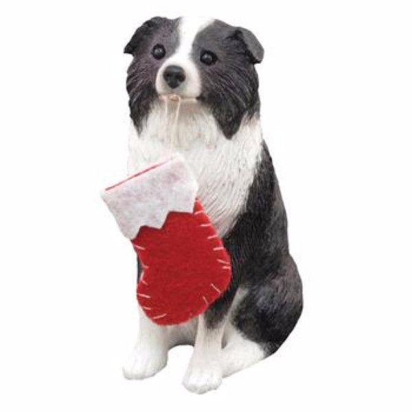 Border Collie with Stocking Christmas Ornament