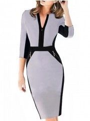Designed Assorted Color Boat Neck   Bodycon-dress