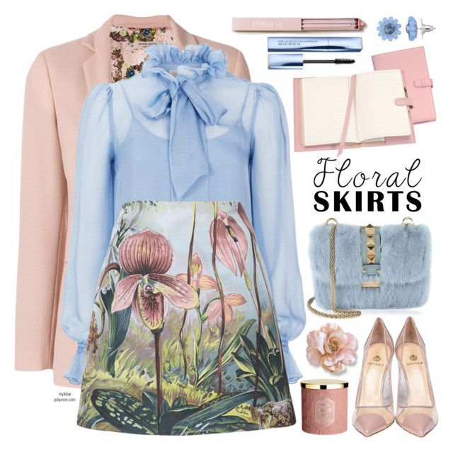 """""""Floral Skirts"""" by mylkbar ❤ liked on Polyvore featuring Piccione•Piccione, Temperley London, ADAM, Semilla, Valentino, Simply Vera, Royce Leather, Estée Lauder, floralprint and Floralskirts"""