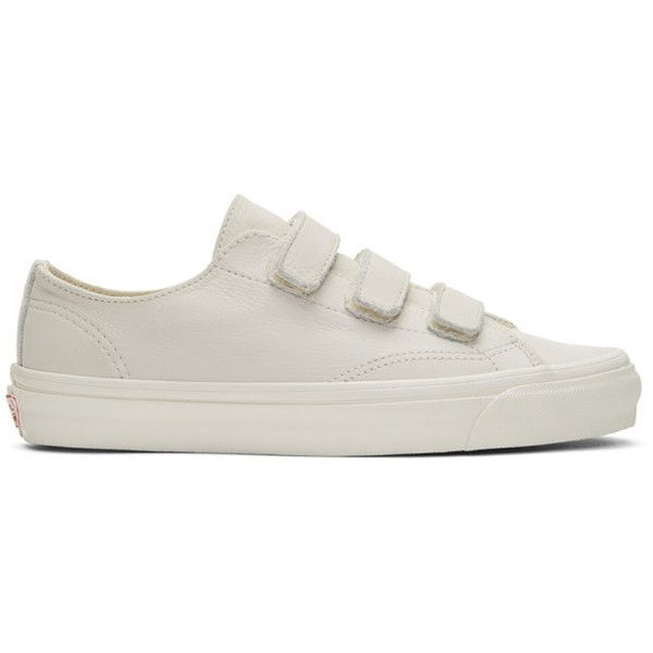 Vans Off-White OG Style 23 V LX Sneakers ($87) ❤ liked on Polyvore featuring men's fashion, men's shoes, men's sneakers, vans mens shoes, mens nubuck shoes, mens velcro strap shoes, mens velcro strap sneakers and mens velcro shoes