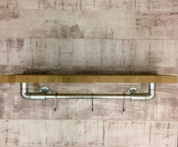 Bois de chêne et tuyauterie rayonnage d'accrocher le rail, étagères sur mesure style chic urbain industriel fait sur commande / industriel rayonnage, style loft...