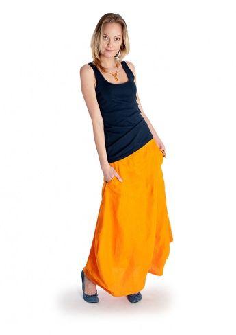 Оранжевая льняная юбка-тыква Virna - Магазин натруальной одежды Natural Dress