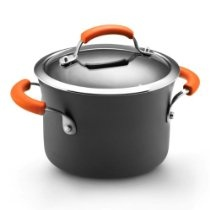 Rachael Ray Hard Anodized II Nonstick Dishwasher Safe Covered Saucepot, 3-Quart, Orange