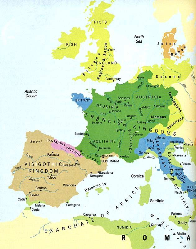 Europe Tribes and Kingdoms - 600 AD