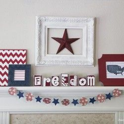 Stars and stripes for your Fourth of July mantel