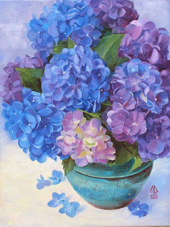 The Original Oil Painting Called Bouquet Of Purple Hydrangea Is A Perfect Gift For Women On Their Birthday Moth Floral Painting Hydrangeas Art Flower Painting