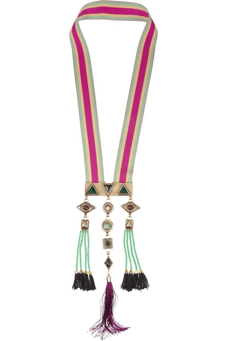 "Etro | Gold-plated multi-stone necklace | Drop 13"" / 33cm Pendant Length 9"" / 23cm Width of Embellishment 4¼"" / 11cm"