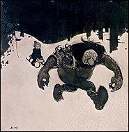 John Bauer - troll with boy on sled