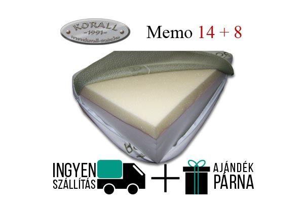 Korall Memo 14+8 memóriahab. Lágy konfortú, 14cm hideghab és 8cm memóriahab rétegből áll. 2 féle levehető és mosható huzattal kapható. 130kg-ig terhelhető.  http://matracom.hu/termekek/memoriahab-matrac/korall-memo-148-memoriahab-matrac/
