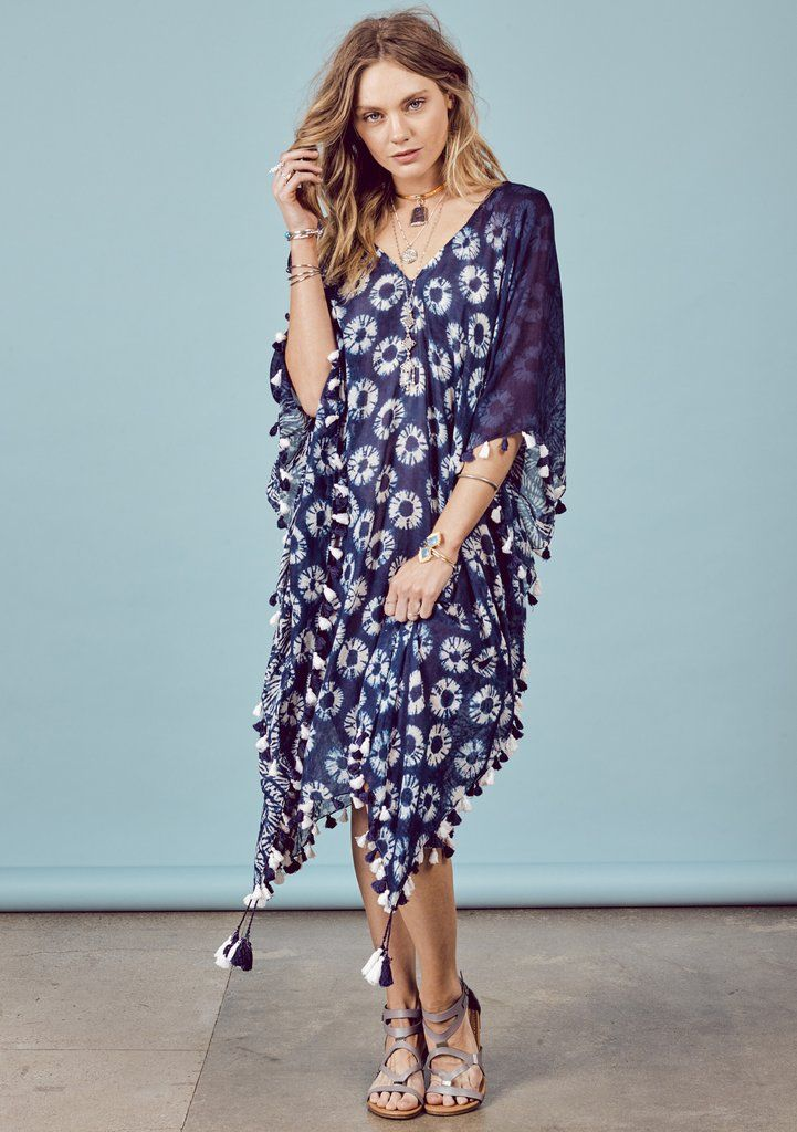 Suri Caftan - Cotton caftan cover-up in beautiful indigo tie-dye with contrasting front and back prints featuring indigo and white mini tassel trim. #lovestitch