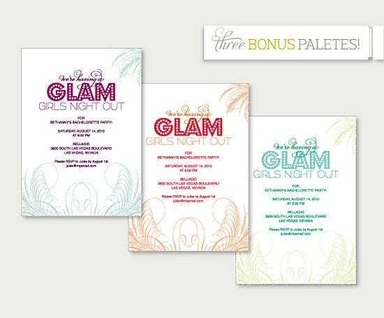 Overnight Wedding Invitations: DIY Download: Glam Girls Night Invite
