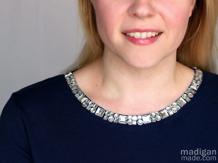 Simple Rhinestone Collar Refashion - Change the look of a boring old shirt with rhinestones and craft glue. So simple!