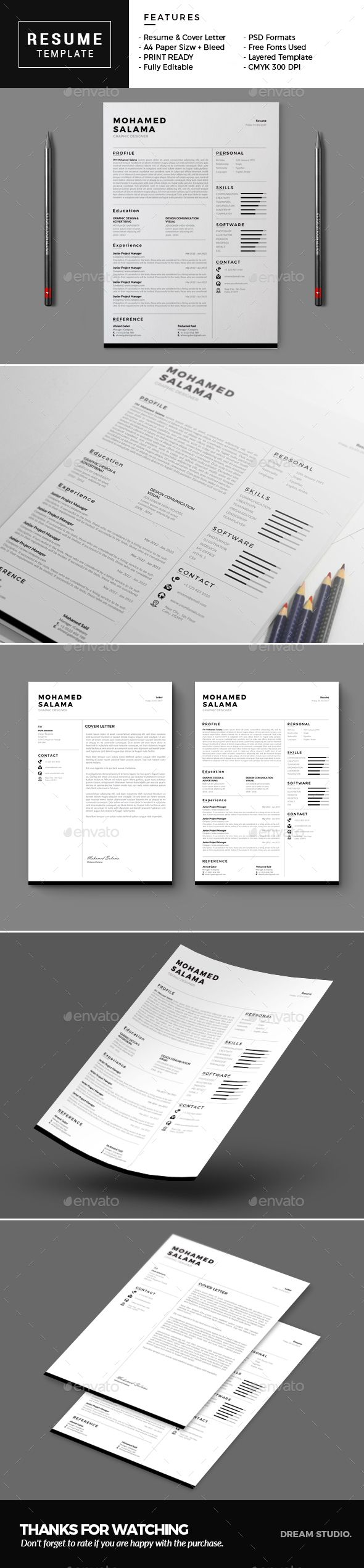 #Resume - Resumes #Stationery Download here:  https://graphicriver.net/item/resume/19521900?ref=alena994