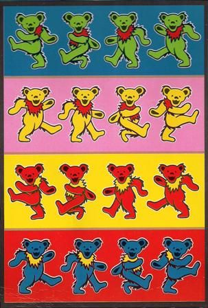 """Grateful Dead - Rows of Dancing Bears Tapestry - $29.99  This large Grateful Dead tapestry is approx. 60"""" x 90"""" and has the """"rows of dancing bears"""" design . You can use this tapestry as wall hanging in your home or office, throw it over a  couch, or as a bedspread on a twin bed. It would look great in a dorm room. Officially licensed Grateful Dead merchandise"""