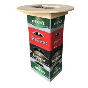 [pro.tec]® Tablero de mesa para cajas de cerveza - mesa alta - mesa de bar - madera auténtica (ø 70 x 10 cm) - 44,70 €